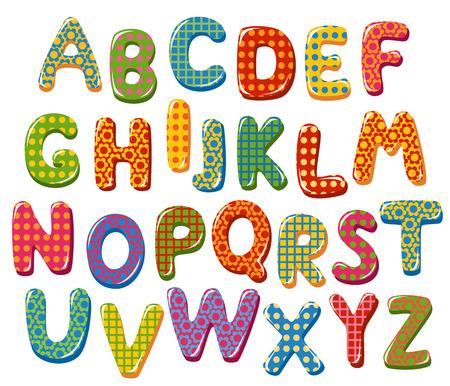 bubble alphabet: Colorful alphabet letters