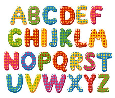水玉模様のカラフルなアルファベット  イラスト・ベクター素材