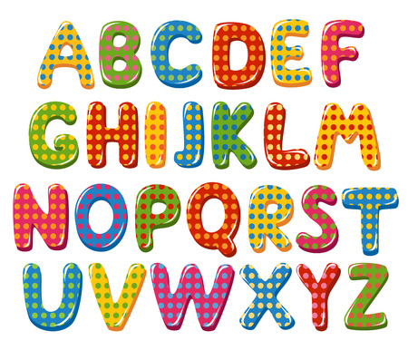 Colorful alphabet letters with polka dot pattern Çizim