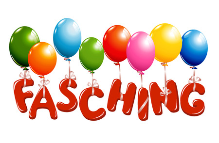 fasching: Colorful Carnival German Text with balloons