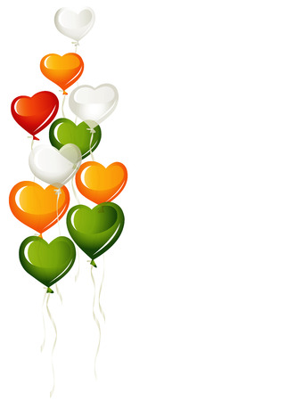 dublin: Heart balloons, in red and irish colors Illustration