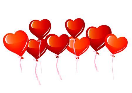 red balloons: Red heart balloons