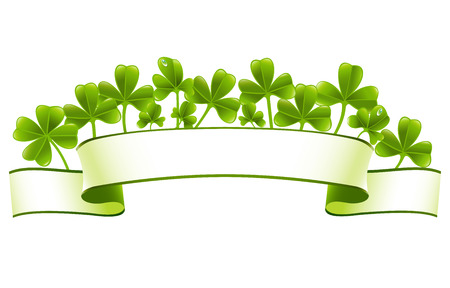 Green banner with clover leafs Vector