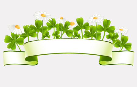 Green banner with clover leafs and camomile flowers Stock Vector - 24933854