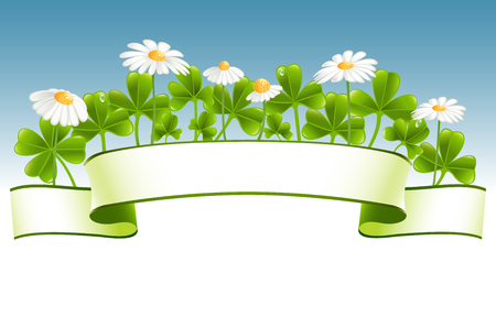 Green banner with clover leafs and camomile flowers Vector