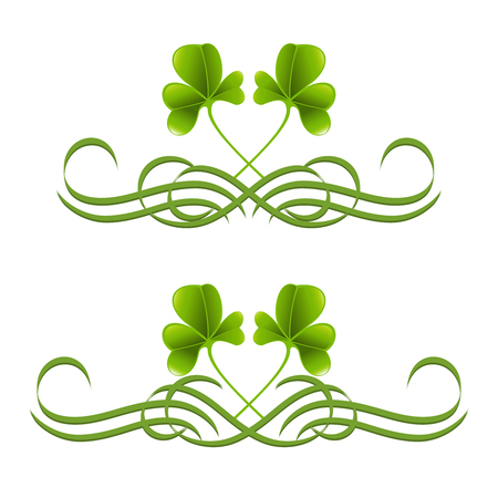 inward: Elements in vintage style with clover leafs. Symmetric inward