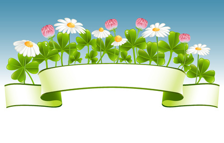 Green banner with clover and camomile flowers