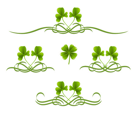 Elements in vintage style with clover leafs Vector