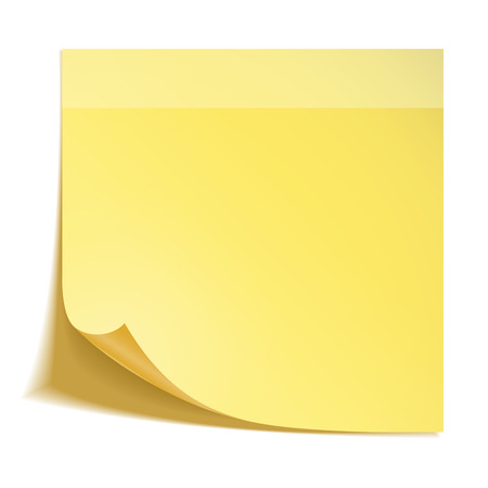 Yellow stick note paper on white background Ilustração