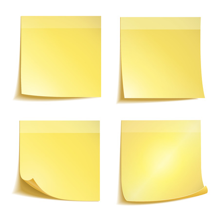 Yellow stick note paper on white background Vector