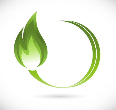 Green fire icon Illustration