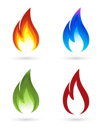gas flame: Set of fire icons