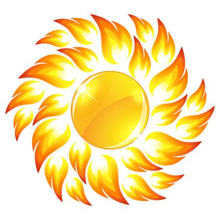 Glossy sun button  Vector