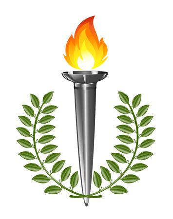 Torch with laurel wreath Vector