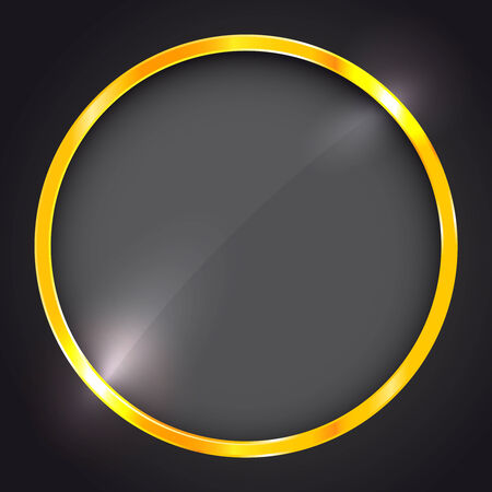 Round frame with golden border Vector