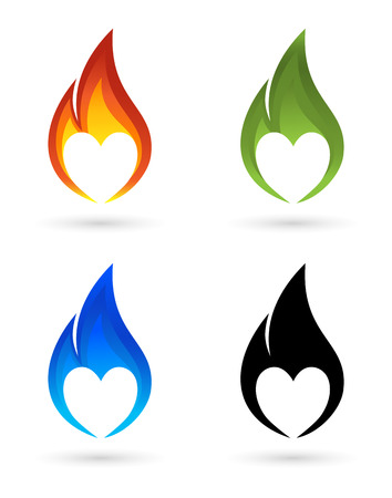 heart in flame: Icons of fire with heart silhouette Illustration