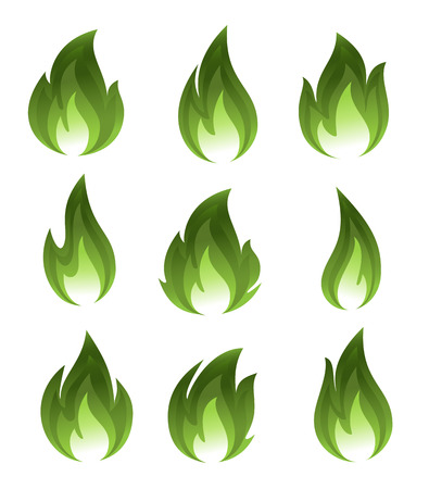 Collection of green fire icons Vector