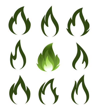 flammable: Collection of green fire icons