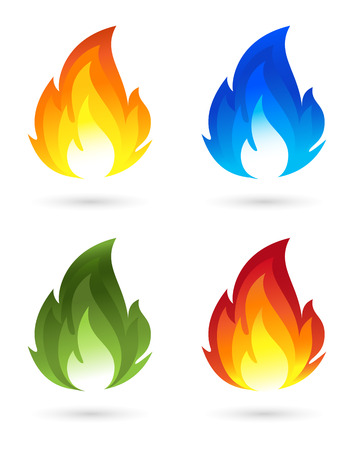 blue flame: Set of fire icons