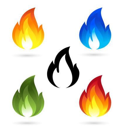 Set von Feuer-Symbole