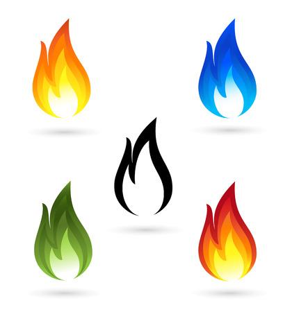 llamas de fuego: Conjunto de iconos de fuego