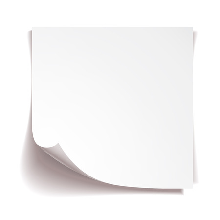yellow note: White stick note paper on white background