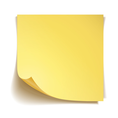 yellow note: Yellow stick note paper on white background Illustration