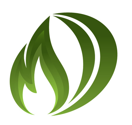 Green fire icon Illustration