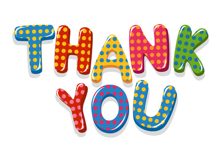 Thank You colorful lettering with polka dot pattern