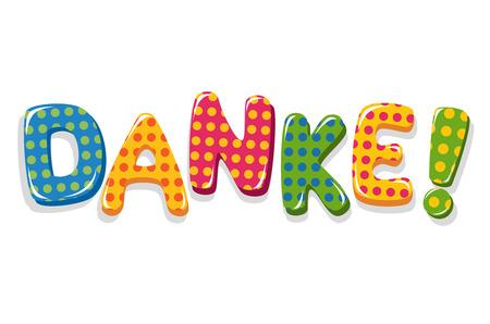 German word Danke colorful lettering with polka dot pattern Vector