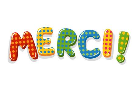 フランス語単語 Merci 水玉柄のカラフルなレタリング  イラスト・ベクター素材