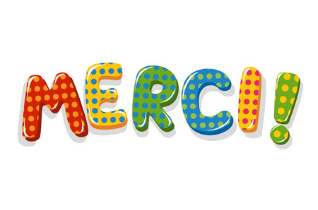 French word Merci colorful lettering with polka dot pattern Vector