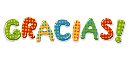 Spanish word Gracias colorful lettering with polka dot pattern Vector