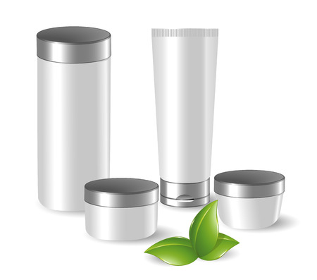 cosmetic bottle: Set of blank cosmetic containers with green leafs Illustration