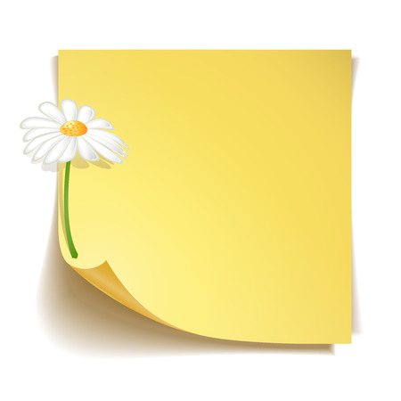 paper pin: Yellow stick note paper with camomile flower on white background Illustration