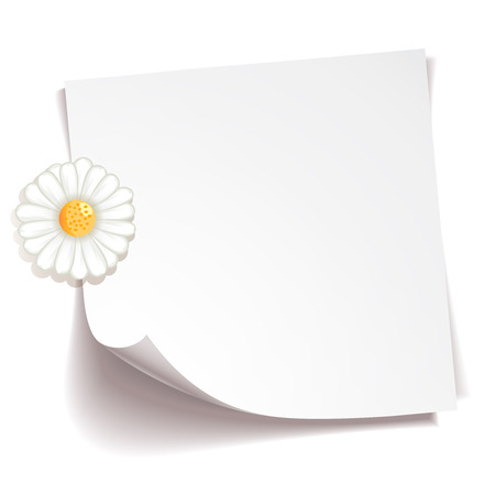 adhesive: White stick note paper with camomile flower on white background Illustration