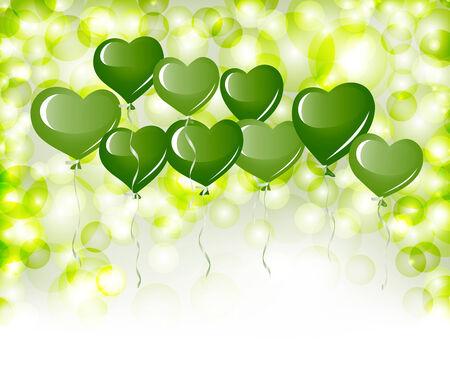 Green heart balloons Vector
