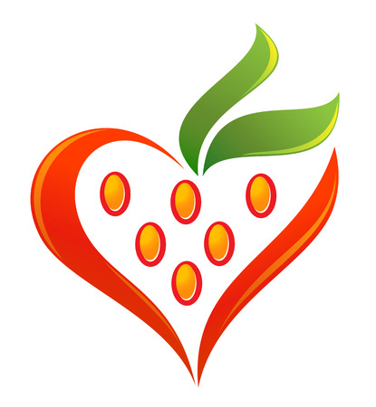 passion ecology: Strawberry heart with green leaves  Illustration