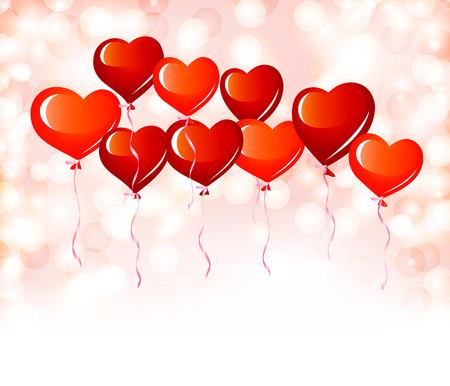 Red heart balloons Vector