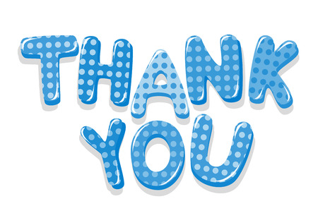 Thank You colorful lettering with polka dot pattern Vector
