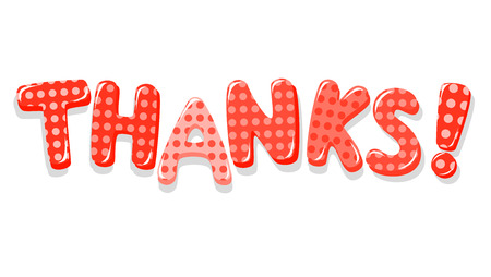Thanks colorful lettering with polka dot pattern Vector