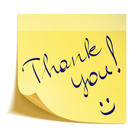 Thank you note with smiley Vettoriali