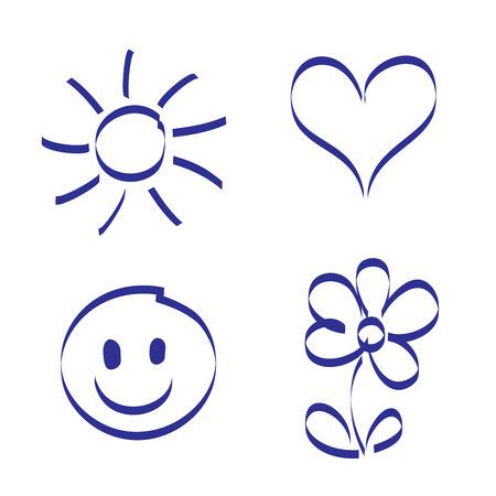손으로 그린 태양, 심장, 미소, 꽃