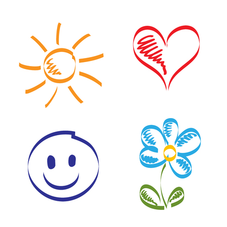 Hand drawn of sun, heart, smile and flower Vector