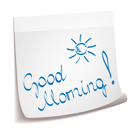 Good Morning note with sun Vector