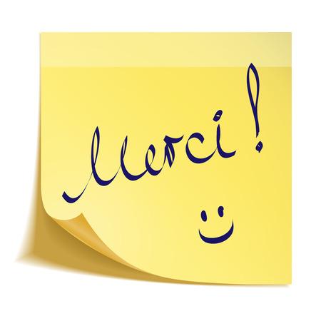 Dank u nota in het frans met smiley Stock Illustratie