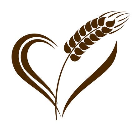 Orejas trigo Icono abstracto con elemento corazón