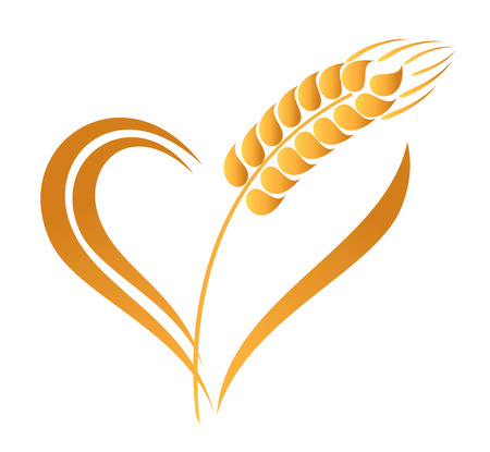 gold heart: Abstract wheat ears icon with heart element Illustration