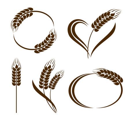 Set di astratto spighe di grano icone Archivio Fotografico - 29120864