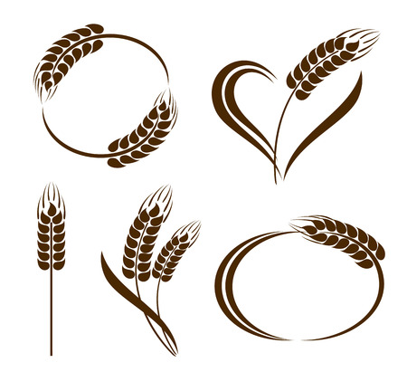wheat flour: Set of abstract wheat ears icons